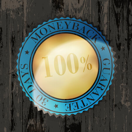 moneyback: Moneyback Guaranteed Label with Gold Badge Sign on Wooden Texture
