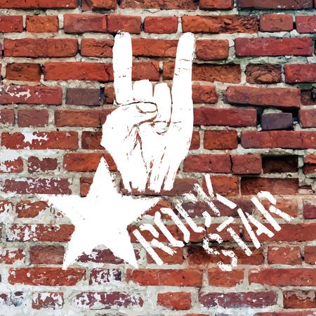 rockstar: Rockstar symbool met teken van de hoorns gebaar. Vector sjabloon met bakstenen muur textuur. Stock Illustratie