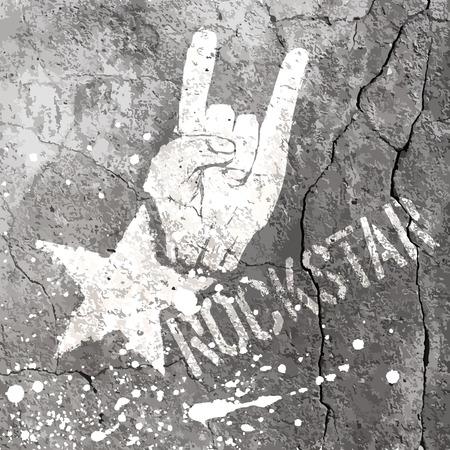 rockstar: Rockstar symbool met teken van de hoorns gebaar. Vector sjabloon met betonnen structuur. Stock Illustratie