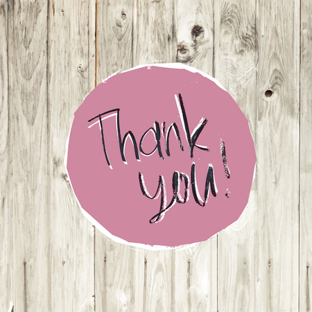 Thank You Card On Hardwood Texture. Vector