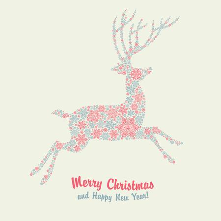 red deer: Christmas deer vintage card Illustration