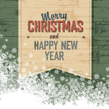 grunge border: Merry Christmas Design Template With Isolated Side.Vector