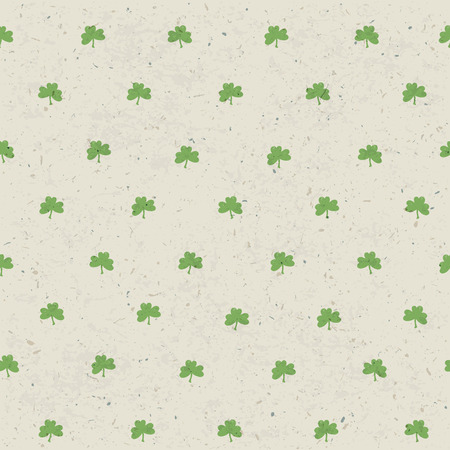 shamrock seamless: Clover leaf seamless pattern on paper texture. Vector, EPS10