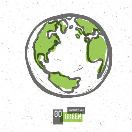 Go Green Concept Poster With Earth. Vector Vettoriali