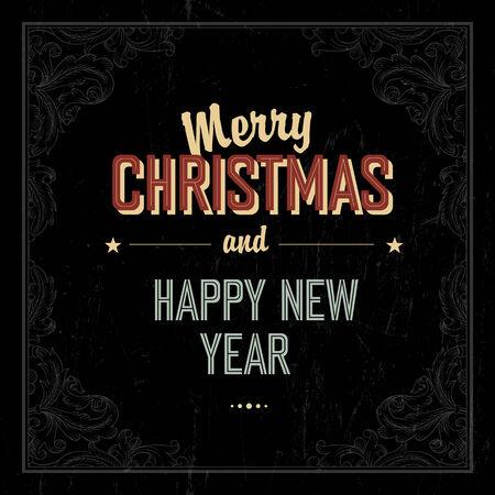 label frame: Vintage Merry Christmas Card Design. Vector