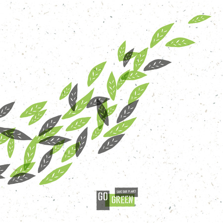 Go Green Concept Poster With Leaves. Vector Illustration