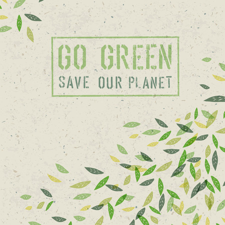 Go Green concept on recycled paper texture. Vector Vectores