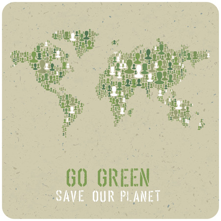 go green icons: Go Green. Ecology Poster Concept. Vector.