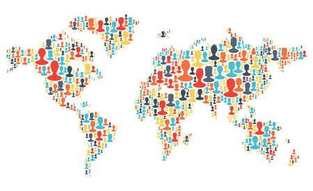 making earth: Group of colorful people silhouettes making a earth planet shape. Vector