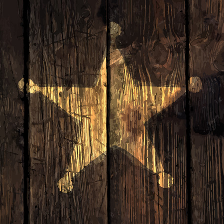 metal sign: Grunge sheriff star on wooden texture.