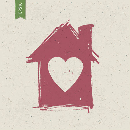 simple house: House sign with heart on paper texture. Vector, EPS10