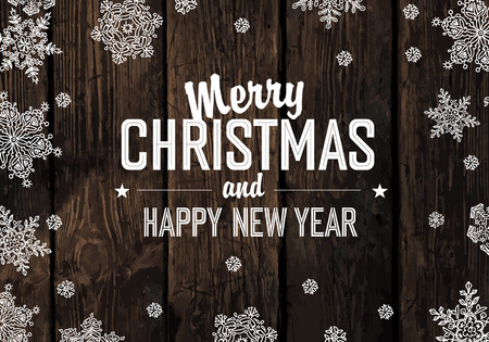 vintage timber: Christmas Greeting On Wooden Planks Texture. Vector