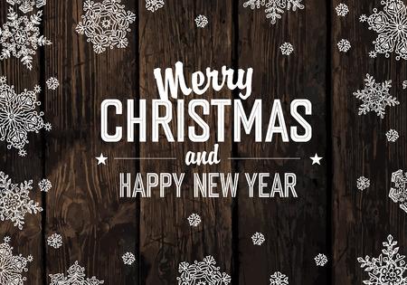 muerdago navide�  � �±o: Saludo de la Navidad en la textura de los tablones de madera. Vector Vectores