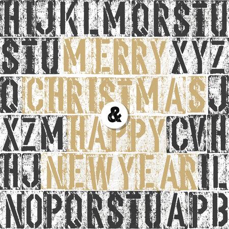 letterpress letters: Merry Christmas Letterpress Concept With Colorful Letters Illustration