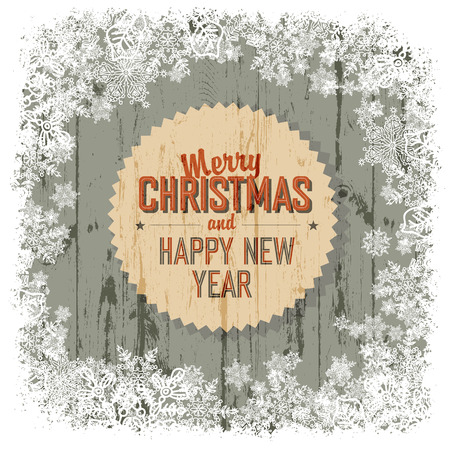 x mas: Merry Christmas greeting with wooden background, vector.