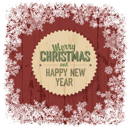 snowflake border: Merry Christmas greeting on red wooden background, vector.