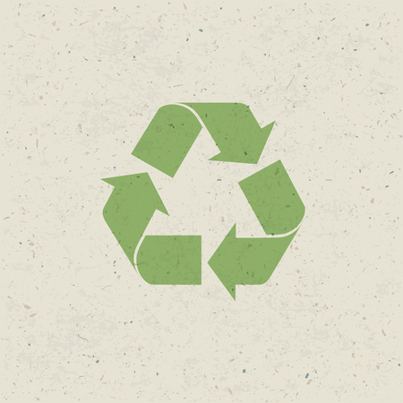 or recycled: Recycled symbol on paper texture. Design set, Vector Illustration