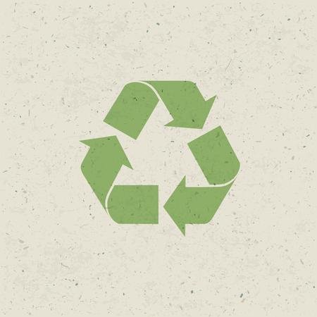 Símbolo de reciclado sobre la textura del papel. Diseño creado, Vector