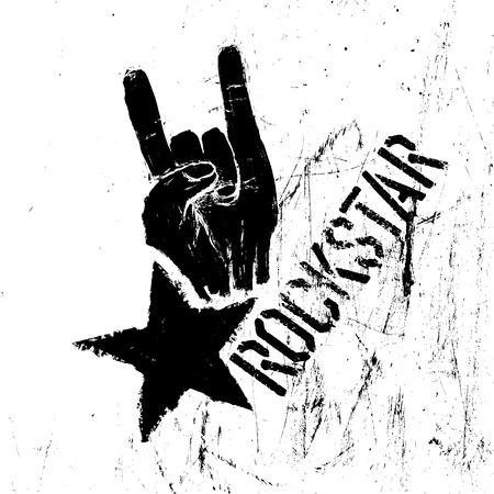 Rockstar symbool met teken van de hoorns gebaar. Vector sjabloon met bekraste textuur.
