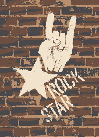 Rock Star Sign With Horns Gesture On Brick Wall Vector