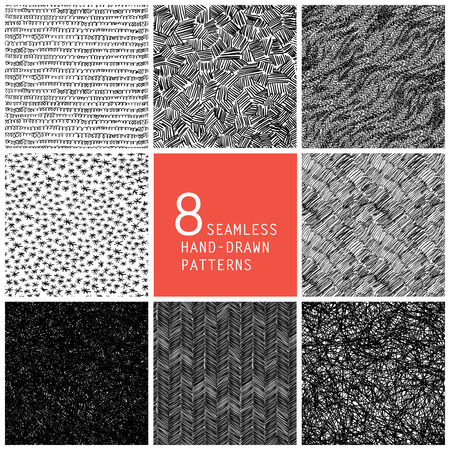 black pattern: 8 seamless hand-drawn patterns
