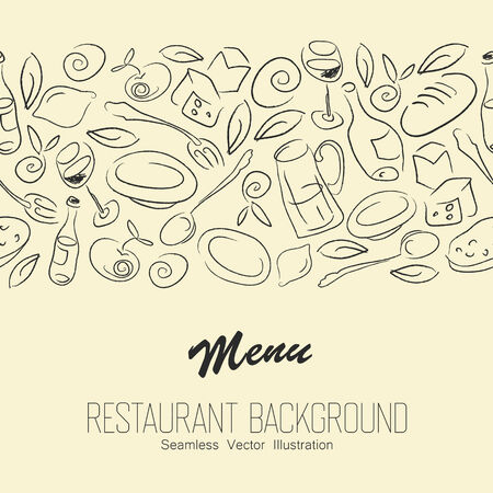sugar spoon: Seamless Resaurant Background With Copyspace. Vector Illustration