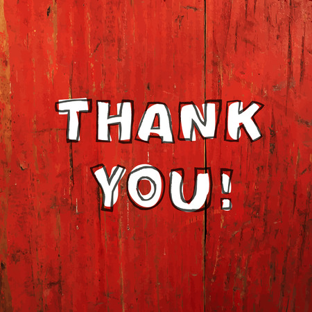 thank you very much: Thank You Card Design On Red Planks Texture. Vector Illustration