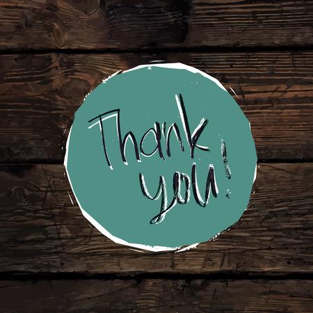 hardwood: Thank You Card On Hardwood Texture. Vector