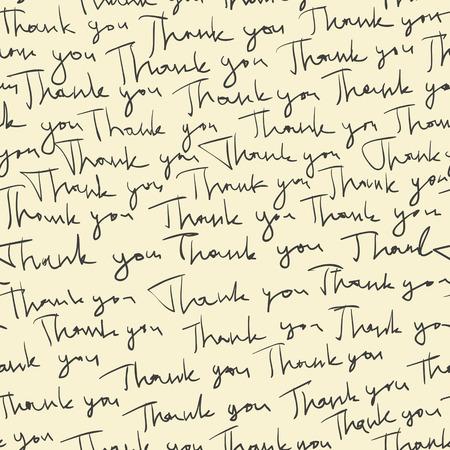 手描き「ありがとう」のシームレスなパターン。ベクトル