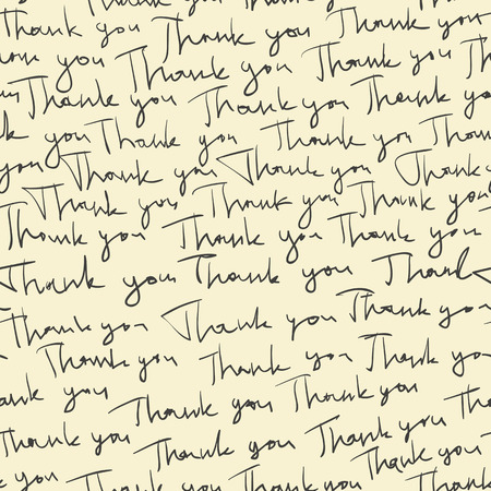 Hand-drawn Thank you seamless pattern. Vector