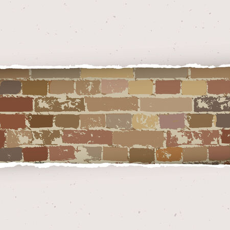 Torn paper on brick wall background. Vector Vector