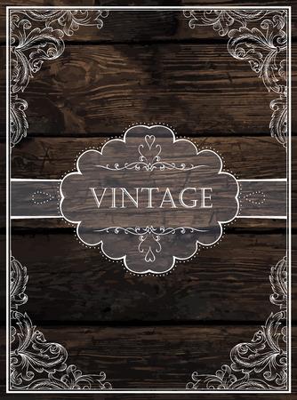 planche de bois: Vintage Design de la carte. Vecteur