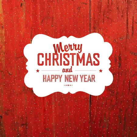 hardwood: Vintage Christmas Label On Red Hardwood Texture Illustration