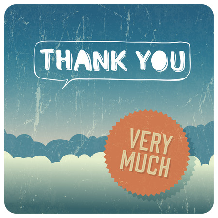very: Vintage Thank You card. Vector Illustration