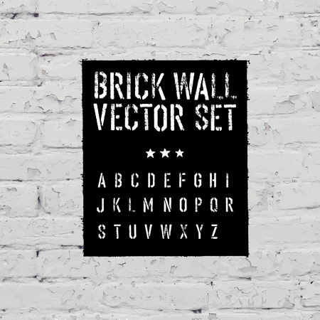 traced: Brick traced texture, stencil alphabet and grunge rectangle. Three in one.  Vector set
