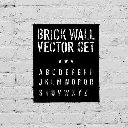 graffiti alphabet: Brick traced texture, stencil alphabet and grunge rectangle. Three in one.  Vector set