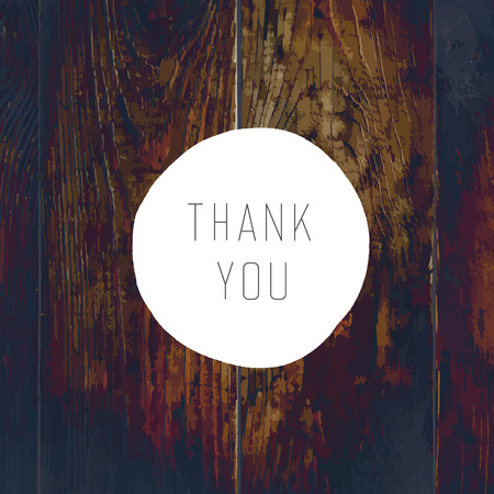Thank You Card. On Wooden Texture with Cross Process Effect Vector