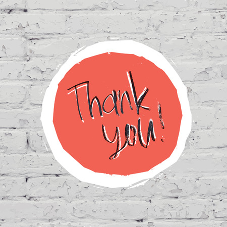 thank you very much: Thank You Card On White Bricks Wall. Vector