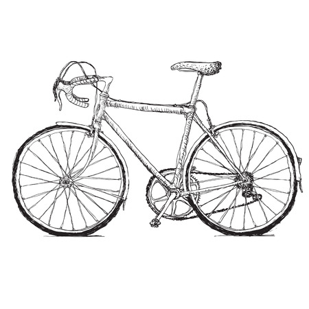 Vintage road bicycle hand drawn illustration