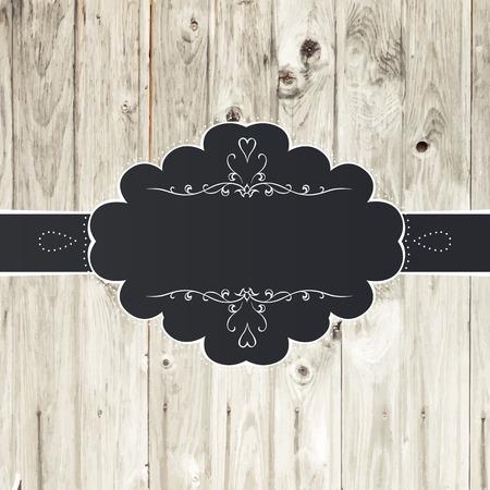 wedding table decor: Vintage Card Design with Label Illustration