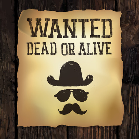 wanted poster: Old Wanted... poster, vector illustration