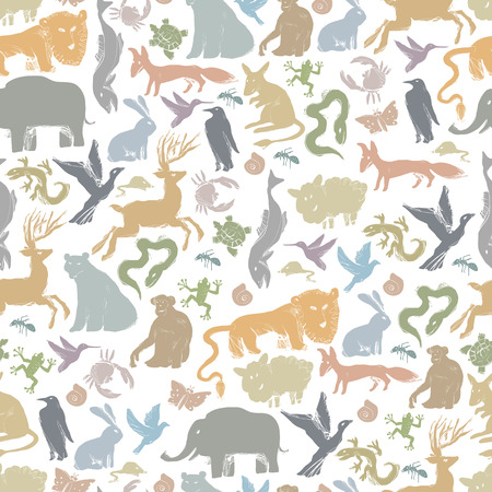 cartoon hare: Group of Animals Silhouettes. Zoo Seamless Pattern