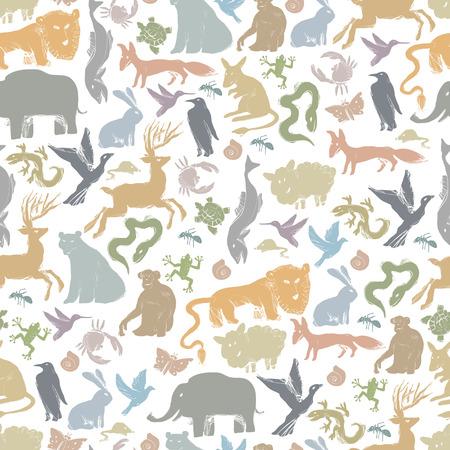 rata caricatura: Grupo de animales siluetas. Zoo Modelo incons�til Vectores