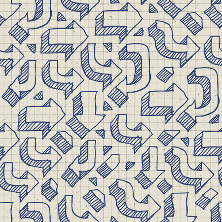 grid paper: Arrows Seamless Pattern on Paper of Exercise Book