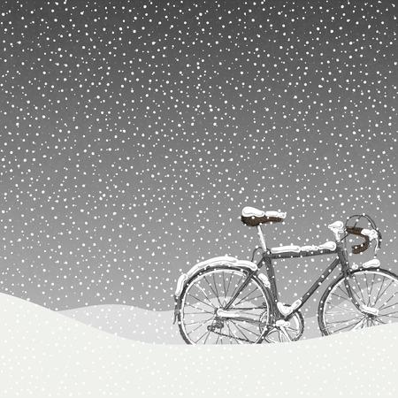 雪覆われた自転車の図は、穏やかな冬景色