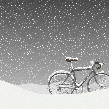 snowbank: Snow Covered Bicycle Illustration, Calm Winter Scene