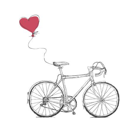 自転車とハート風船ヴィンテージ バレンタイン イラスト