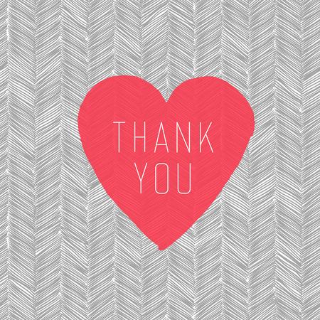 """agradecimiento: \\\ """"Gracias \\\"""" tarjeta con el símbolo del corazón en el patrón dibujado a mano"""