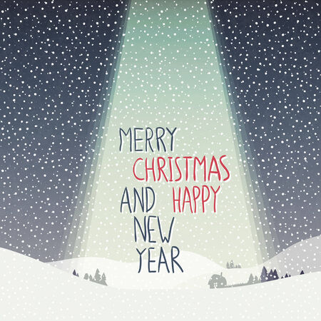 happy new year text: Merry Christmas Card. Calm Winter Scene Illustration