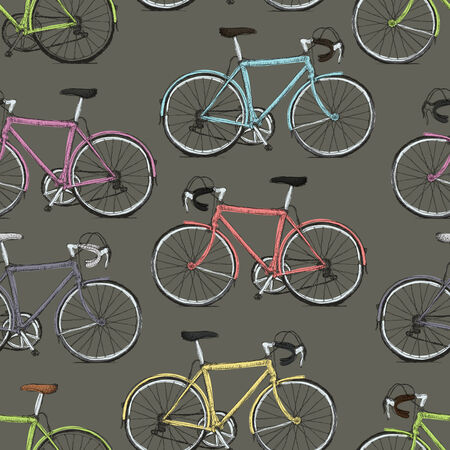 multicolored: Vintage Multi-Colored Bicycles Seamless Pattern Illustration